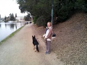 walking Desi at the lake
